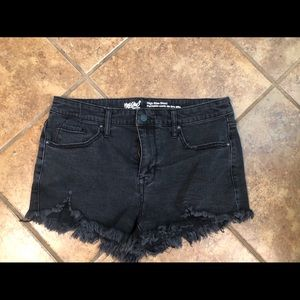 Mossimo Black Ripped Denim Jean Shorts